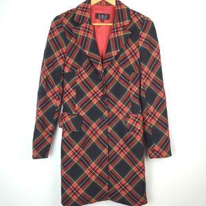Vintage 90s ABS Plaid Long Tailored Blazer Jacket